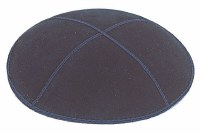 Navy Suede Kippah with Royal and Gold Trim