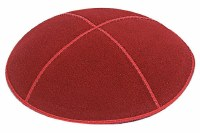 Red Suede Kippah Medium