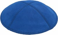 Royal Blue Suede Kippah Size Small