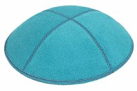 Turquoise Suede Kippah Size Small
