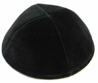 Black 4 Part Velvet Kippah No Rim Size 4