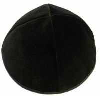 Black 4 Part Velvet Kippah With Rim Size 2