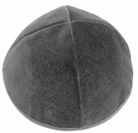 Gray 4 Part Velvet Kippah With Rim Size 5