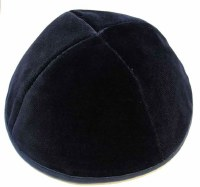 Navy 4 Part Velvet Kippah with Rim Size 7