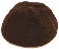 Brown 4 Part Velvet Kippah with Rim Size 6