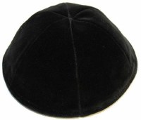 Black 6 Part Velvet Kippah No Rim Size 8