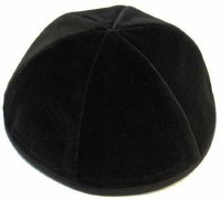 Black 6 Part Velvet Kippah With Rim Size 8