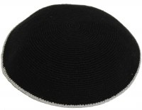 Black with Gray Border Fine Knitted Kippah Serugah 17cm