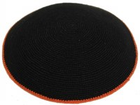 Black with Orange Border Fine Knitted Kippah Serugah 17cm