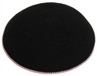 Black with Pink Border Fine Knitted Kippah Serugah 17cm