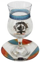 Kos Shel Eliyahu with Matching Saucer Blue and Orange Sparkled Striped Design