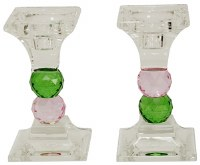Crystal Candle Sticks Green and Pink Jewel Design 4.75""