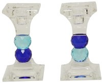 Crystal Candle Sticks Two Tone Blue Jewel Design 4.75""