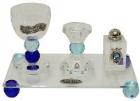 Havdalah Set with Tray Multi Tone Blue Jewel and Pomegranate Design