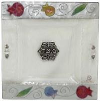 Square Matzah Tray Glass Pomegranate Design