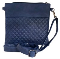 Tallis Bag Faux Leather Blue Quilted Design with Carrying Strap