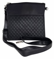 Tallis Bag Faux Leather Black Quilted Design with Carrying Strap