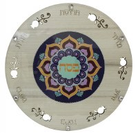 Round Seder Plate Glass Pomegranate and Centered Blue Floral Design