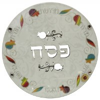 Round Seder Plate White Glass Colorful Pomegranate Design