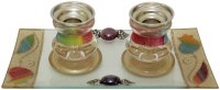 Candlesticks with Tray Small Applique - Rainbow Flowers