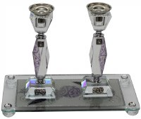 Purple Design Square Crystal Candle Sticks with Tray
