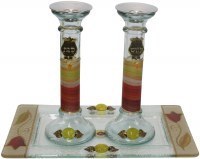 Candle Stick With Tray Large with Colorful Applique
