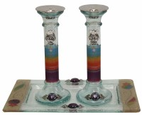 Rainbow Design Round Crystal Candle Sticks with Tray