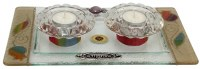 Candle Stick Tray with Tea Lights Rainbow Applique