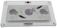 "Challah Tray On Legs Glass Purple Glittered Pomegranate Design 15""x10"""