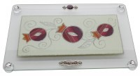 "Challah Tray On Legs Glass Red Glittered Pomegranate Design 15""x10"""