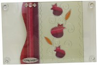 "Challah Tray On Legs Glass Red Vertical Double Design 15""x10"""