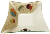 Glass Bowl Square Deep Shape Applique - Rainbow Pomegranate