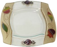 Glass Square Dish Applique Rainbow Pomegranate