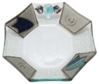 Glass Dish Ocatagon Shape Applique Ocean Tulip