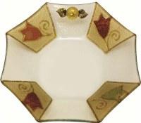 Glass Bowl Octagon Shape Applique - Colorful Tulip