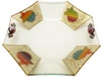 Glass Bowl Octagon Shape Applique Rainbow Pomegranate