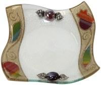 Glass Bowl Square Shape Applique Rainbow Pomegranate