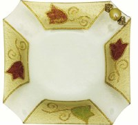 Glass Dish Square Shape Cut Corners Applique Colorful Tulip