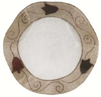 Glass Dish Round Scalloped Shape Applique Brown Tulip