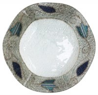 Glass Dish Round Scalloped Shape Applique Ocean Tulip