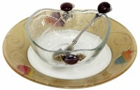 Honey Dish Glass Pomegranate and Swirled Design