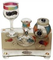Lily Art Glass Havdallah 4 Piece Set Rainbow Tulip Design