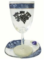 Glass Kiddush Cup with Plate Applique