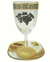 Glass Kiddush Cup with Plate Tulip