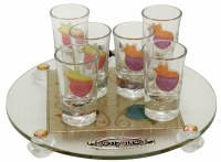 Liquor Set with 6 Glasses And Round Tray Pomegranate Rainbow