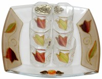 Liquor Set with 6 Glasses And Tray Tulip Colorful
