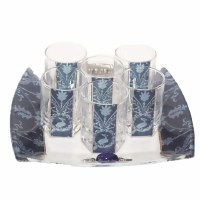 Liquor Set with 6 Glasses And Tray Applique - Blue