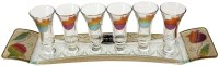 Liquor Set with 6 Glasses And Tray Pomegranate Rainbow