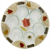 Glass Seder Plate Round Colorful Tulip Design