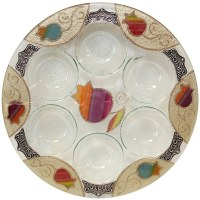 Glass Seder Plate Round Rainbow Pomegranate Design